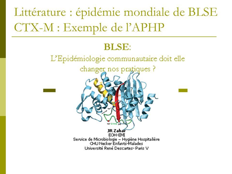 Littérature : épidémie mondiale de BLSE CTX-M : Exemple de lAPHP