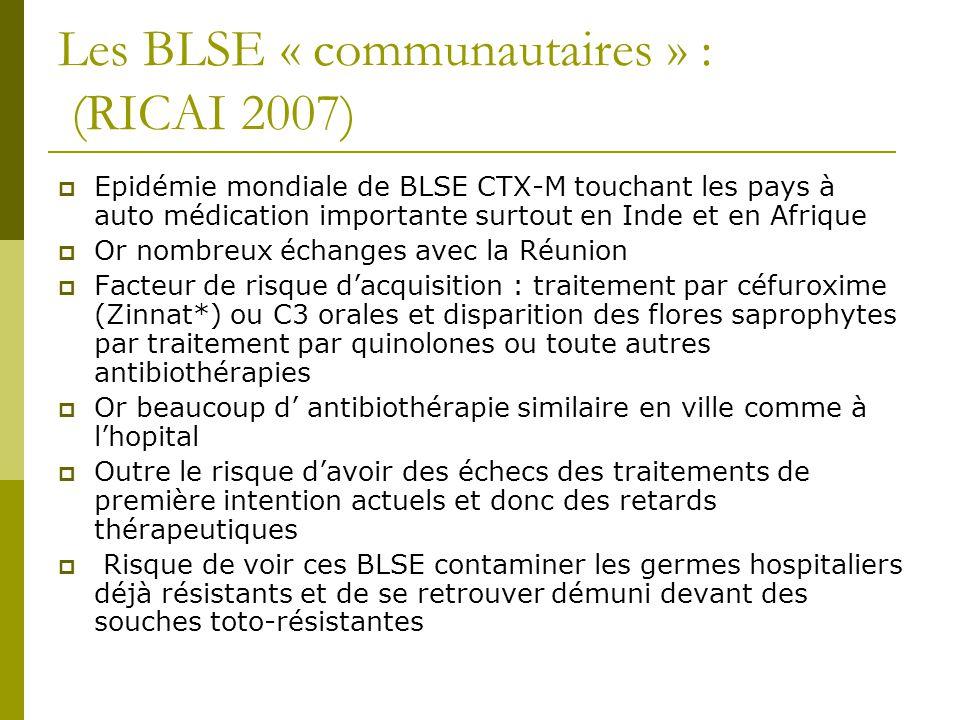 Les BLSE « communautaires » : (RICAI 2007) Epidémie mondiale de BLSE CTX-M touchant les pays à auto médication importante surtout en Inde et en Afriqu