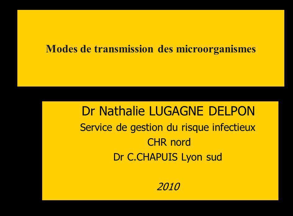 Dr Nathalie LUGAGNE DELPON Service de gestion du risque infectieux CHR nord Dr C.CHAPUIS Lyon sud 2010 Modes de transmission des microorganismes