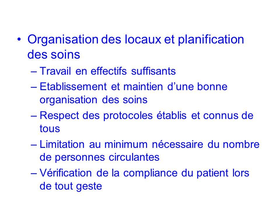 Organisation des locaux et planification des soins –Travail en effectifs suffisants NIVEAU 3 –Etablissement et maintien dune bonne organisation des so
