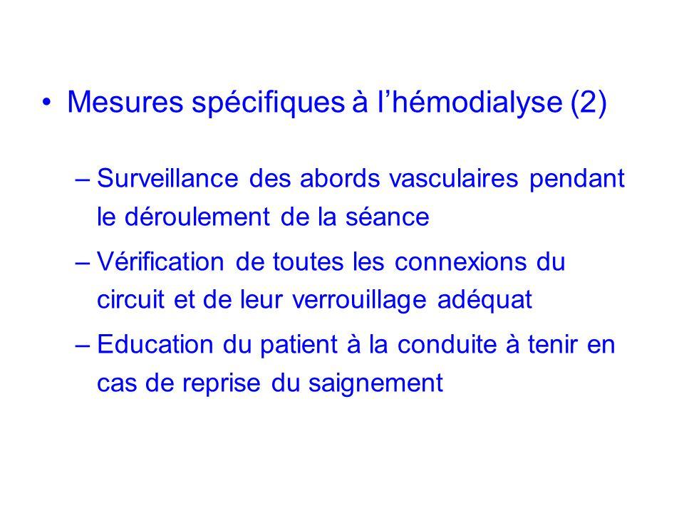 Mesures spécifiques à lhémodialyse (2) –Surveillance des abords vasculaires pendant le déroulement de la séance –Vérification de toutes les connexions