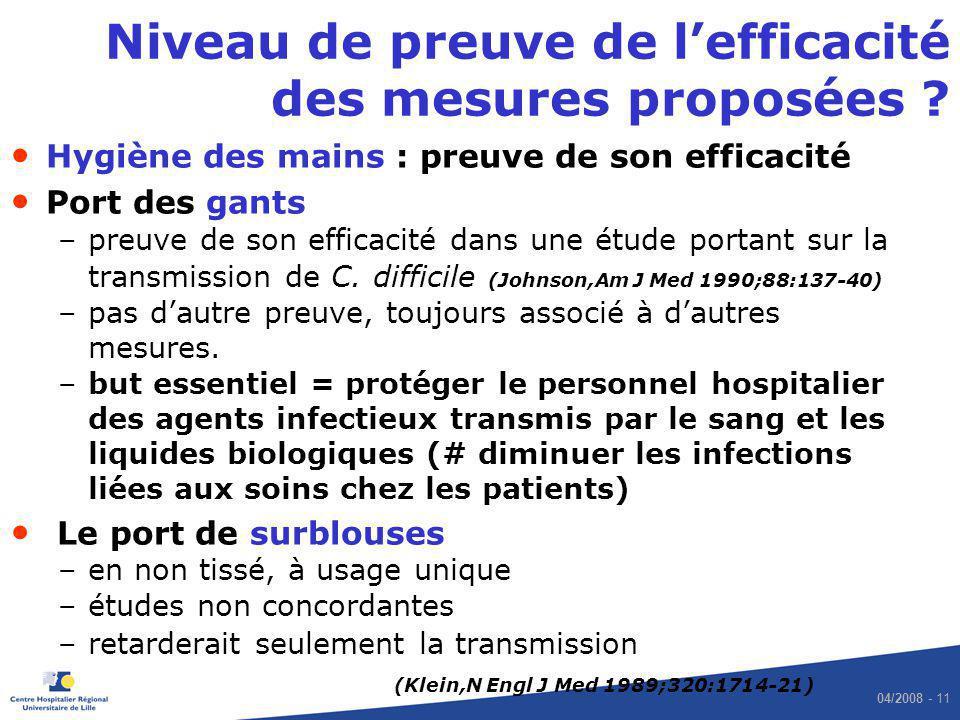 04/2008 - 11 Niveau de preuve de lefficacité des mesures proposées ? Hygiène des mains : preuve de son efficacité Port des gants –preuve de son effica