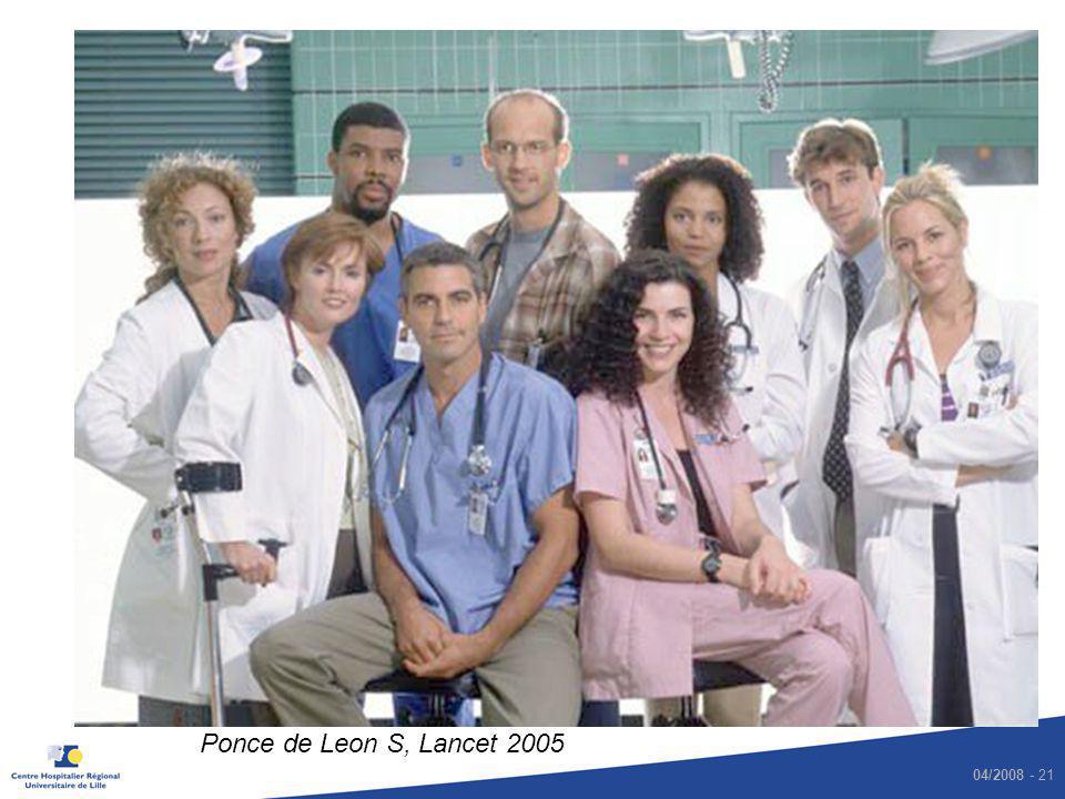 04/2008 - 21 Respect des précautions standard Cook County Hospital Secteur des urgences et de soins intensifs Observation directe 1 446 occasions dun