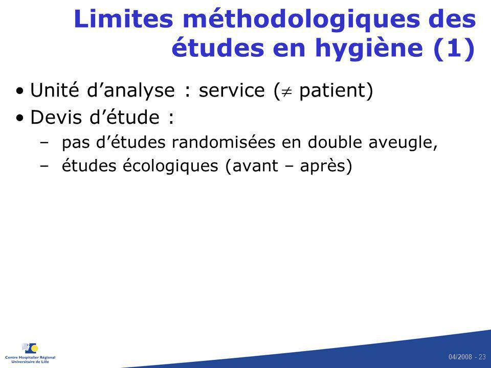 04/2008 - 23 Limites méthodologiques des études en hygiène (1) Unité danalyse : service ( patient) Devis détude : –pas détudes randomisées en double a