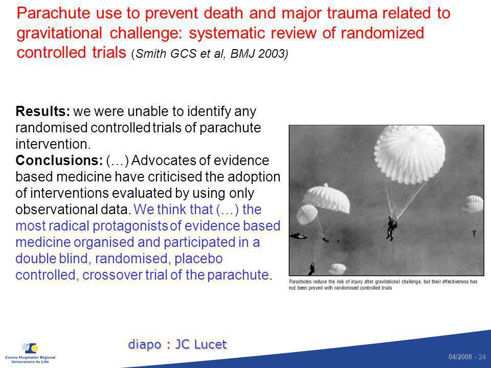 04/2008 - 24 Parachute use to prevent death and major trauma related to gravitational challenge: systematic review of randomized controlled trials (Sm