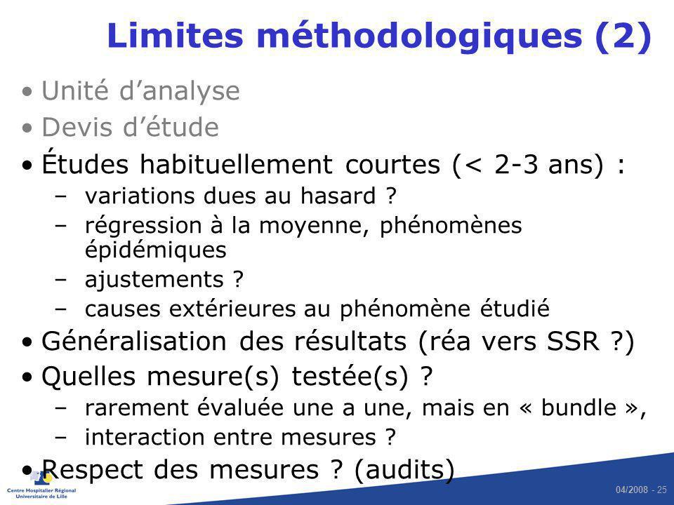 04/2008 - 25 Limites méthodologiques (2) Unité danalyse Devis détude Études habituellement courtes (< 2-3 ans) : –variations dues au hasard ? –régress