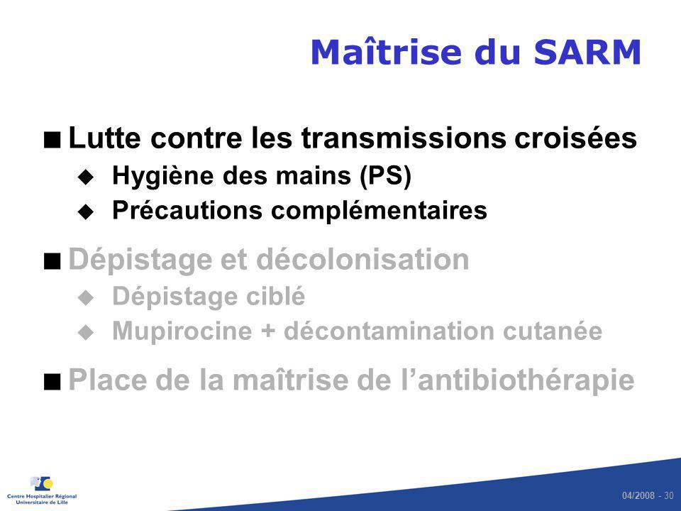 04/2008 - 30 Maîtrise du SARM Lutte contre les transmissions croisées u Hygiène des mains (PS) u Précautions complémentaires Dépistage et décolonisati