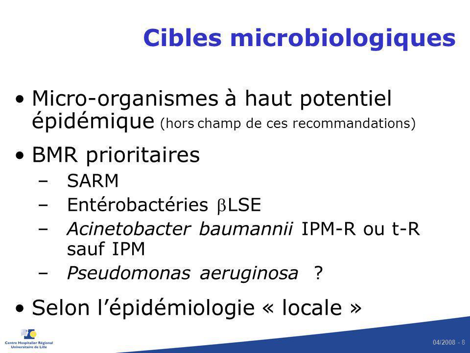 04/2008 - 8 Cibles microbiologiques Micro-organismes à haut potentiel épidémique (hors champ de ces recommandations) BMR prioritaires –SARM –Entérobac