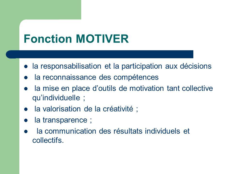 Fonction MOTIVER la responsabilisation et la participation aux décisions la reconnaissance des compétences la mise en place doutils de motivation tant
