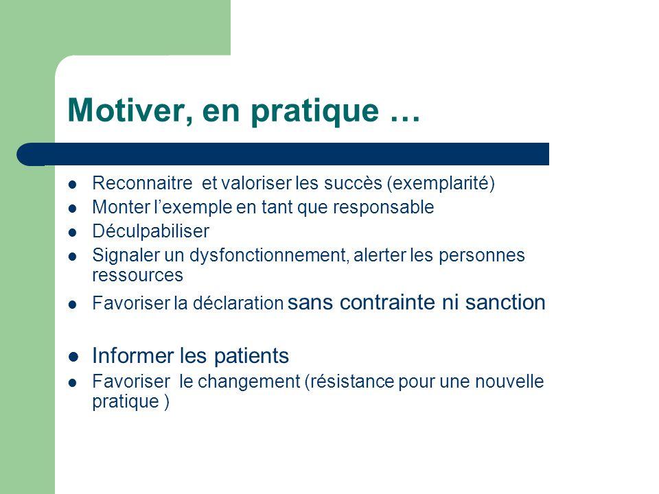 Motiver, en pratique … Reconnaitre et valoriser les succès (exemplarité) Monter lexemple en tant que responsable Déculpabiliser Signaler un dysfonctio