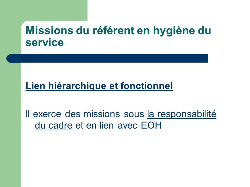 Missions du référent en hygiène du service Lien hiérarchique et fonctionnel Il exerce des missions sous la responsabilité du cadre et en lien avec EOH