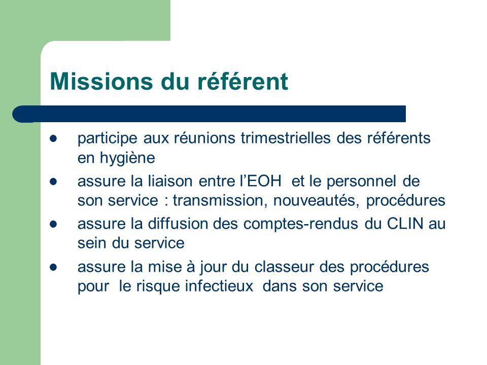 Missions du référent participe aux réunions trimestrielles des référents en hygiène assure la liaison entre lEOH et le personnel de son service : tran