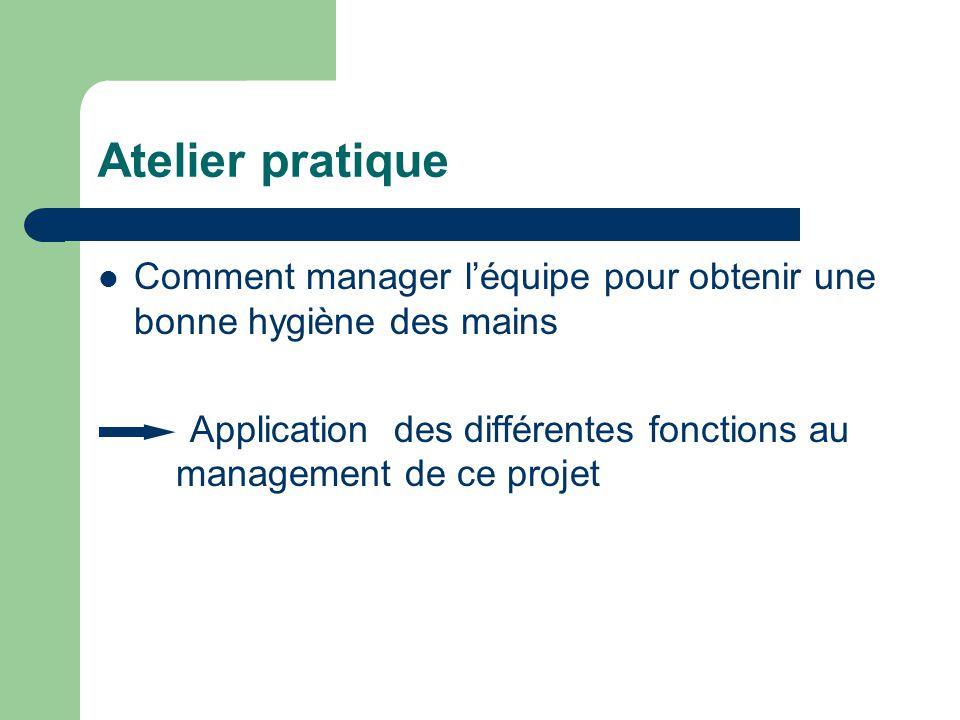 Atelier pratique Comment manager léquipe pour obtenir une bonne hygiène des mains Application des différentes fonctions au management de ce projet