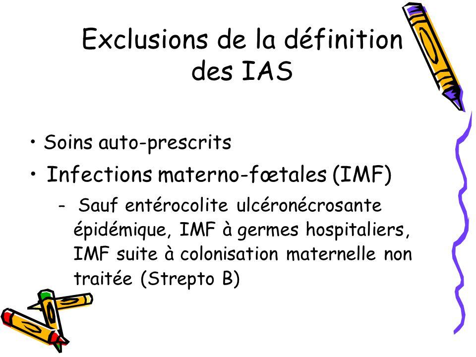 Exclusions de la définition des IAS Soins auto-prescrits Infections materno-fœtales (IMF) – Sauf entérocolite ulcéronécrosante épidémique, IMF à germe