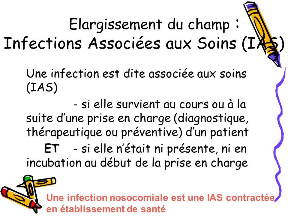 Elargissement du champ : Infections Associées aux Soins (IAS) Une infection est dite associée aux soins (IAS) - si elle survient au cours ou à la suit