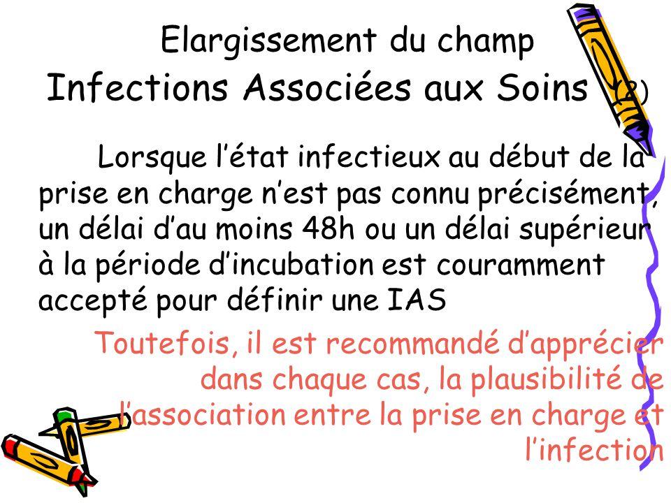 Elargissement du champ Infections Associées aux Soins (2) Lorsque létat infectieux au début de la prise en charge nest pas connu précisément, un délai