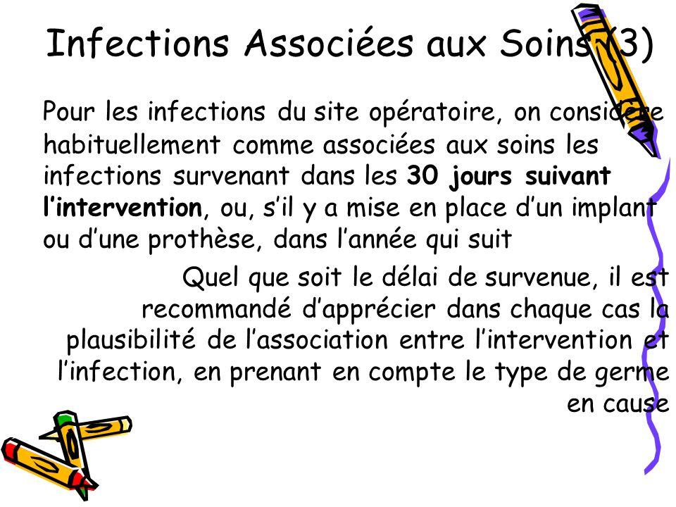 Infections Associées aux Soins (3) Pour les infections du site opératoire, on considère habituellement comme associées aux soins les infections surven