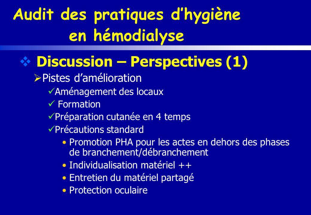 Audit des pratiques dhygiène en hémodialyse Discussion – Perspectives (1) Pistes damélioration Aménagement des locaux Formation Préparation cutanée en