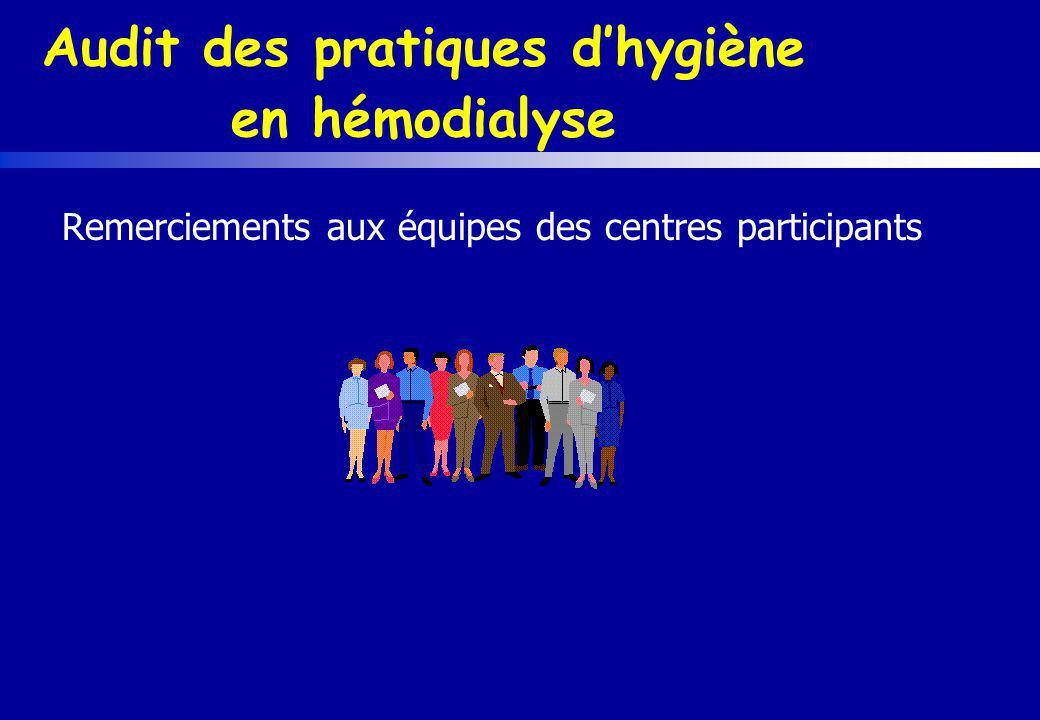 Audit des pratiques dhygiène en hémodialyse Remerciements aux équipes des centres participants
