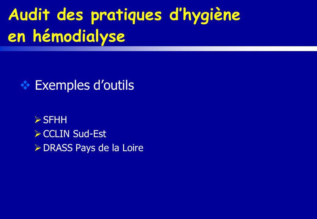 Audit des pratiques dhygiène en hémodialyse Exemples doutils SFHH CCLIN Sud-Est DRASS Pays de la Loire