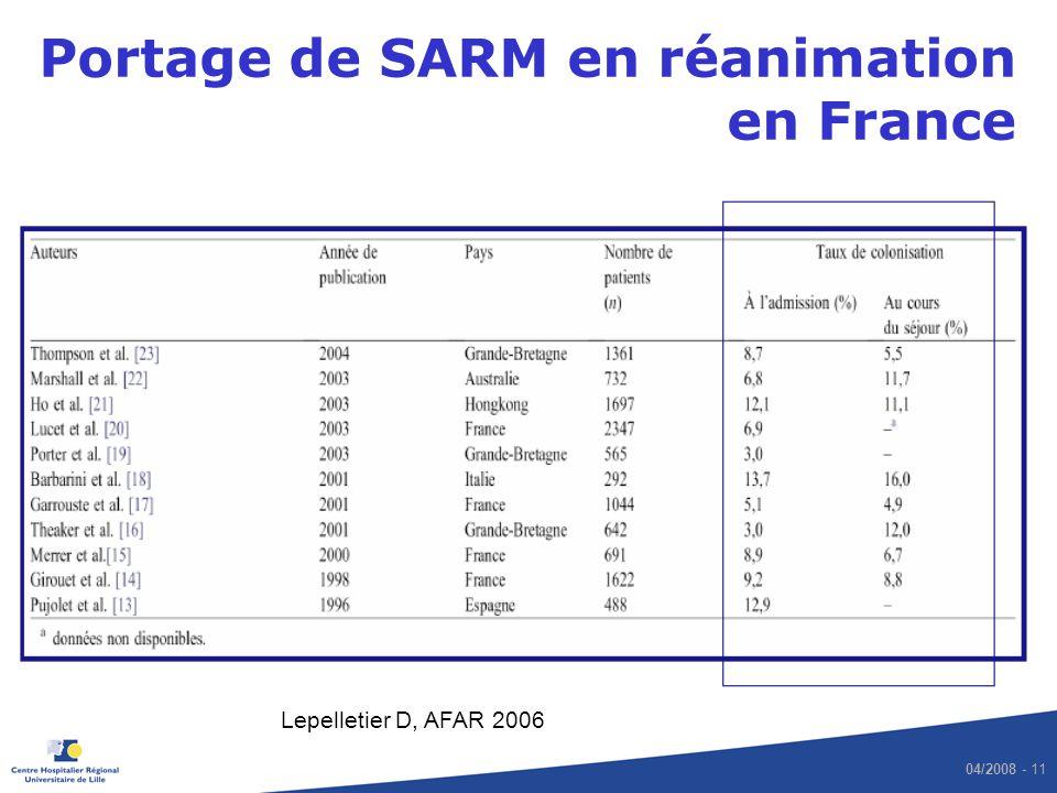 04/2008 - 11 Portage de SARM en réanimation en France Lepelletier D, AFAR 2006