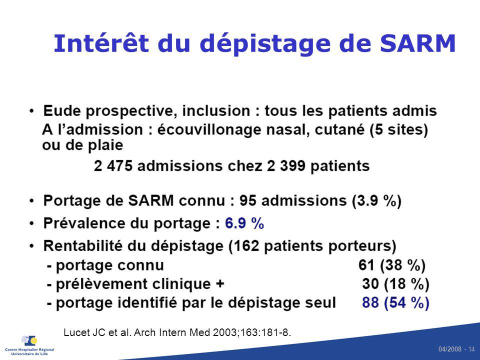04/2008 - 14 Intérêt du dépistage de SARM Lucet JC et al. Arch Intern Med 2003;163:181-8.