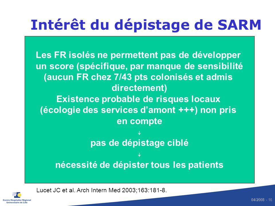 04/2008 - 16 Intérêt du dépistage de SARM Lucet JC et al. Arch Intern Med 2003;163:181-8. Les FR isolés ne permettent pas de développer un score (spéc