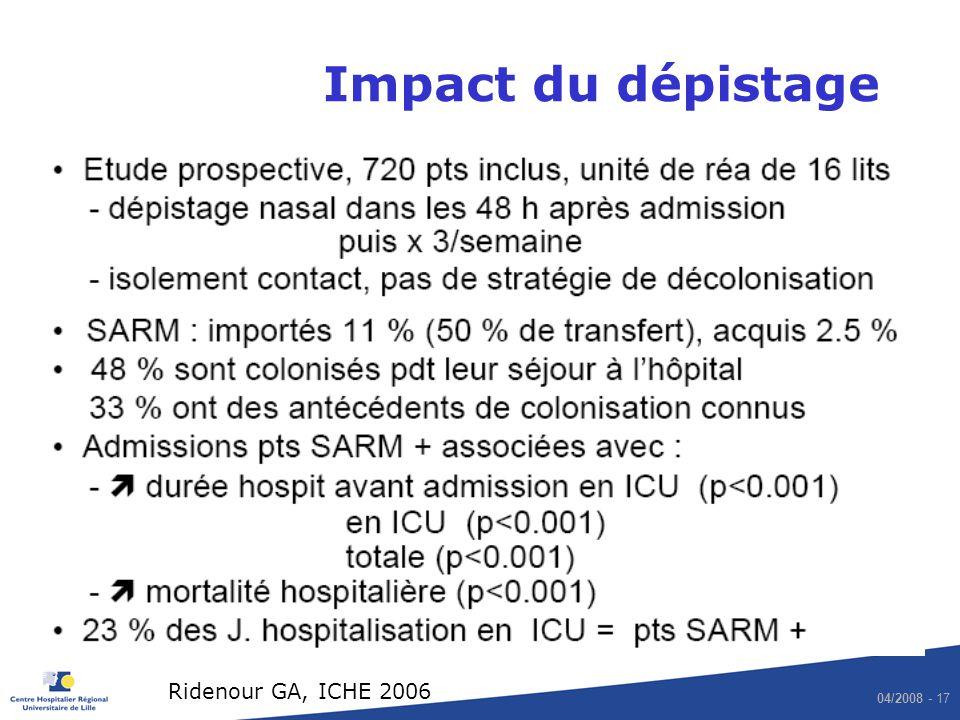 04/2008 - 17 Impact du dépistage Ridenour GA, ICHE 2006