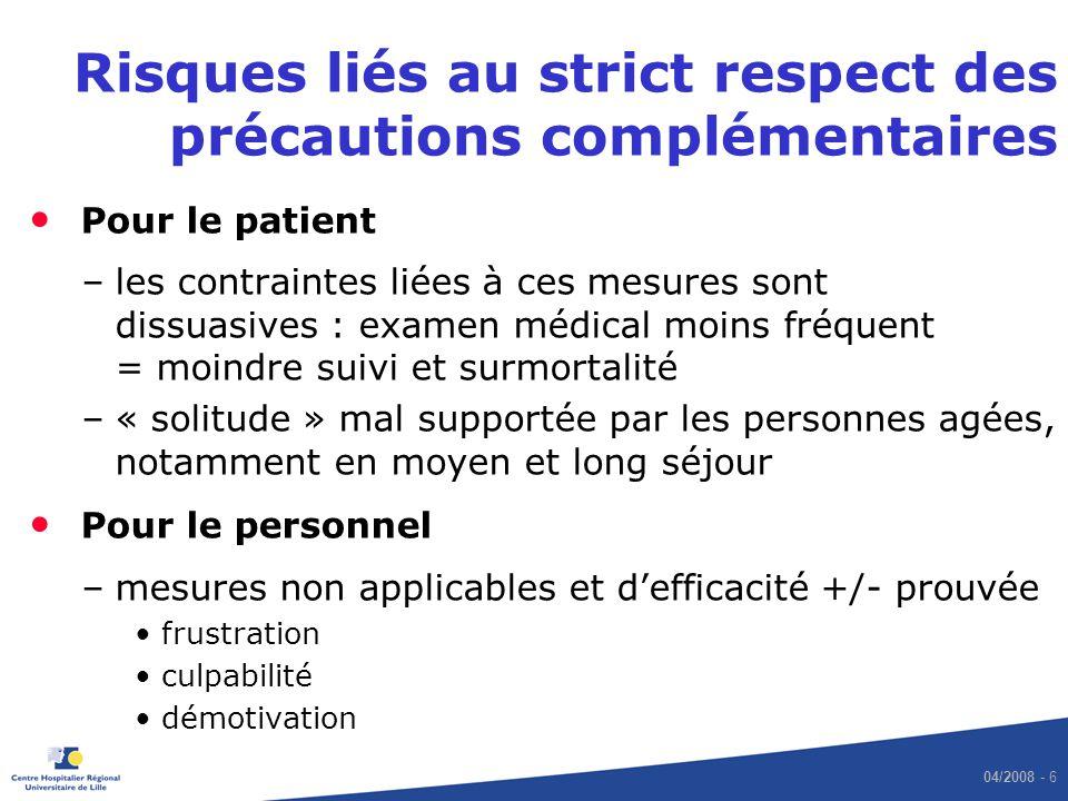 04/2008 - 6 Risques liés au strict respect des précautions complémentaires Pour le patient –les contraintes liées à ces mesures sont dissuasives : exa