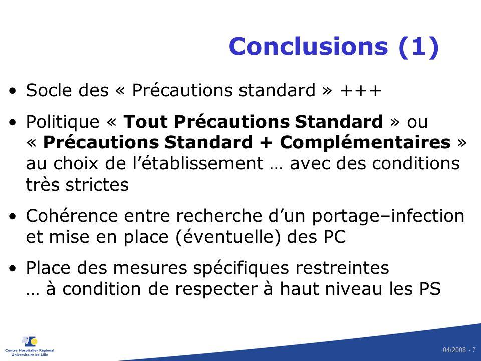 04/2008 - 7 Conclusions (1) Socle des « Précautions standard » +++ Politique « Tout Précautions Standard » ou « Précautions Standard + Complémentaires