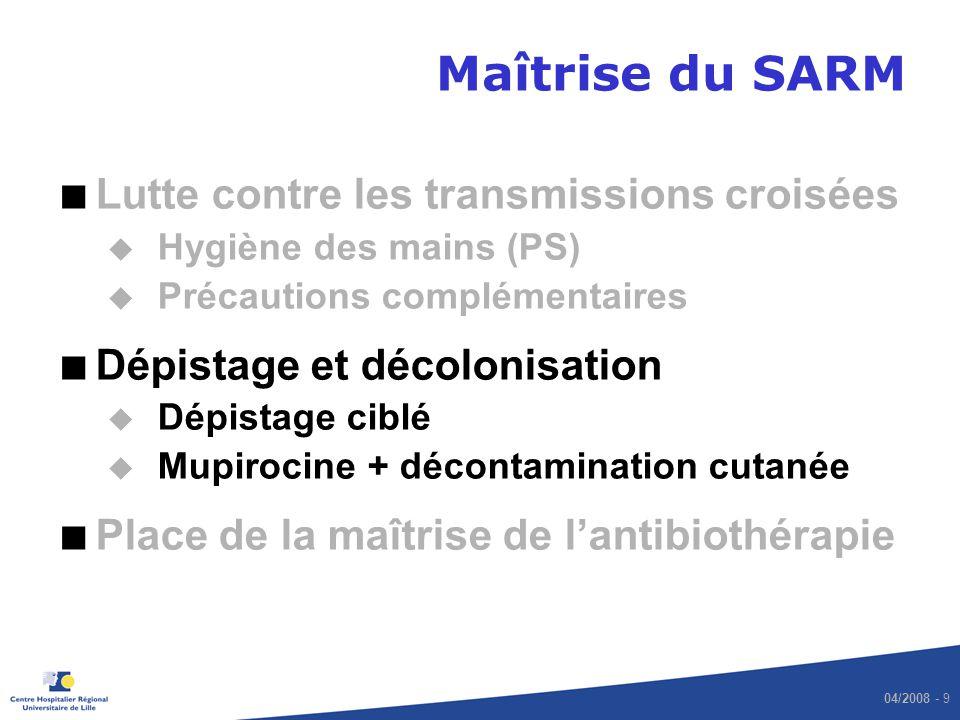 04/2008 - 10 Rationnel du dépistage (1) Colonisation à Staphylococcus aureus –20 % de porteurs permanents –(seulement 3.5 % de SARM) –60 % de porteurs intermittents –(souvent alternance de souches différentes) –20 % de jamais colonisés