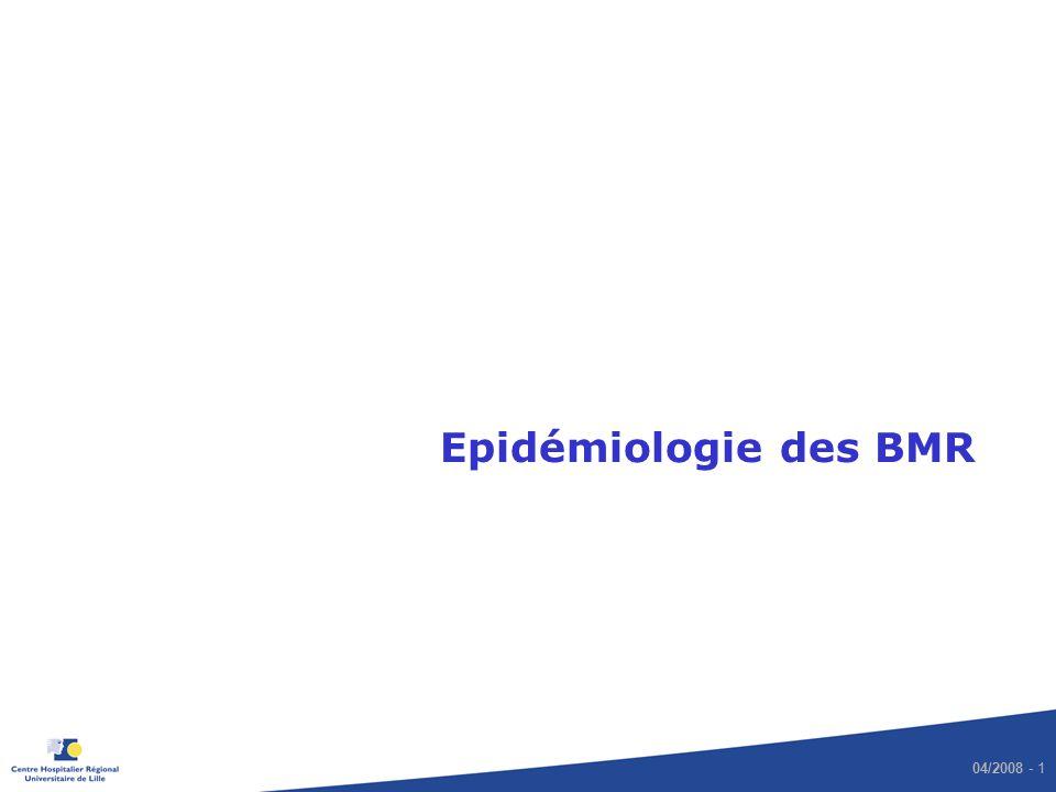 04/2008 - 2 Prévalence des infections nosocomiales : ENP 2006 Taux de prévalence : 4,97 patients infectés / 100 patients présents > 2 300 établissements, 440 000 lits 96% des lits du public 89% des lits privés Ecologie microbienne : top 5 des micro-organismes Escherichia coli24,7% Staphylococcus aureus18,9% Pseudomonas aeruginosa10,0% Staphylo.