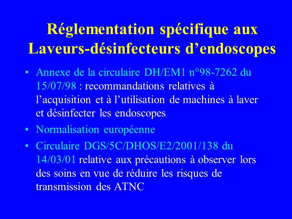 Réglementation spécifique aux Laveurs-désinfecteurs dendoscopes Annexe de la circulaire DH/EM1 n°98-7262 du 15/07/98 : recommandations relatives à lacquisition et à lutilisation de machines à laver et désinfecter les endoscopes Normalisation européenne Circulaire DGS/5C/DHOS/E2/2001/138 du 14/03/01 relative aux précautions à observer lors des soins en vue de réduire les risques de transmission des ATNC