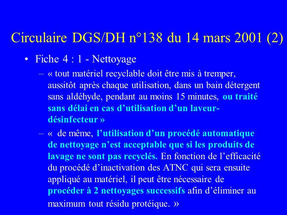Circulaire DGS/DH n°138 du 14 mars 2001 (2) Fiche 4 : 1 - Nettoyage –« tout matériel recyclable doit être mis à tremper, aussitôt après chaque utilisation, dans un bain détergent sans aldéhyde, pendant au moins 15 minutes, ou traité sans délai en cas dutilisation dun laveur- désinfecteur » –« de même, lutilisation dun procédé automatique de nettoyage nest acceptable que si les produits de lavage ne sont pas recyclés.