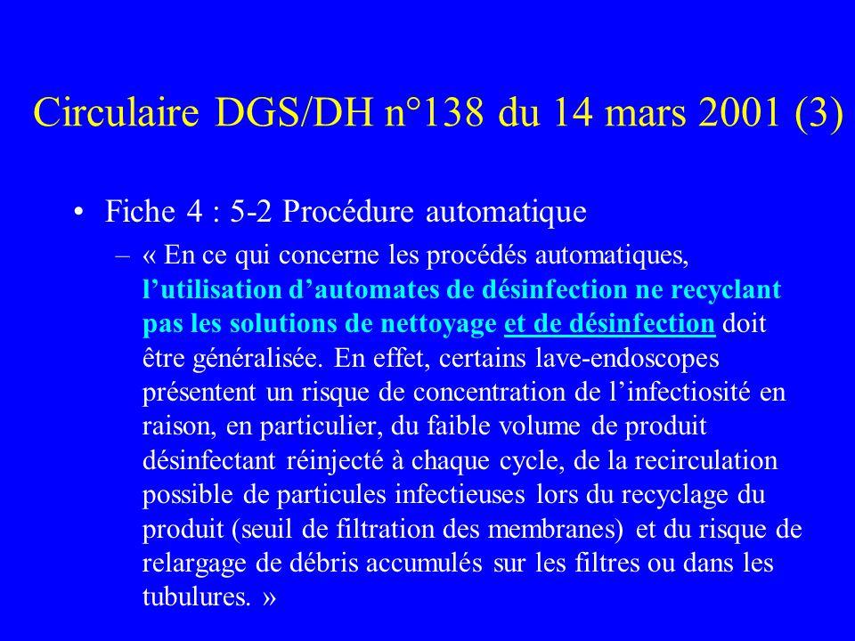 Circulaire DGS/DH n°138 du 14 mars 2001 (3) Fiche 4 : 5-2 Procédure automatique –« En ce qui concerne les procédés automatiques, lutilisation dautomates de désinfection ne recyclant pas les solutions de nettoyage et de désinfection doit être généralisée.