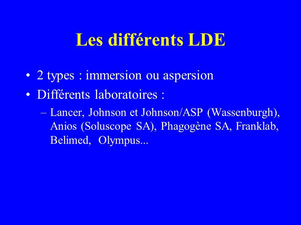 Les différents LDE 2 types : immersion ou aspersion Différents laboratoires : –Lancer, Johnson et Johnson/ASP (Wassenburgh), Anios (Soluscope SA), Phagogène SA, Franklab, Belimed, Olympus...