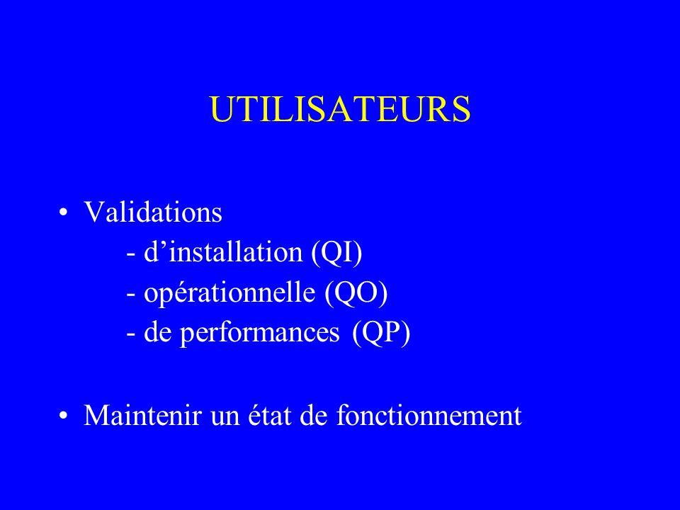 UTILISATEURS Validations - dinstallation (QI) - opérationnelle (QO) - de performances (QP) Maintenir un état de fonctionnement