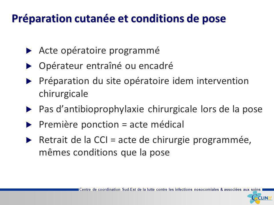 Centre de coordination Sud-Est de la lutte contre les infections nosocomiales & associées aux soins Préparation cutanée et conditions de pose Acte opé