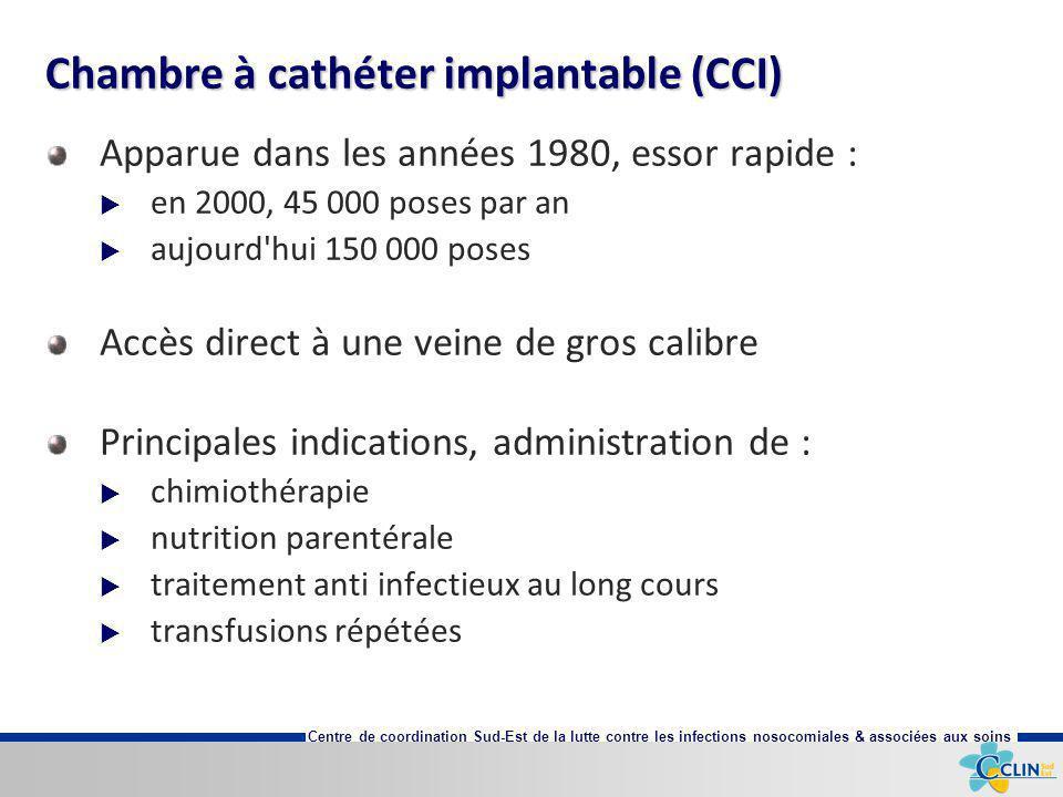 Centre de coordination Sud-Est de la lutte contre les infections nosocomiales & associées aux soins Chambre à cathéter implantable (CCI) Apparue dans