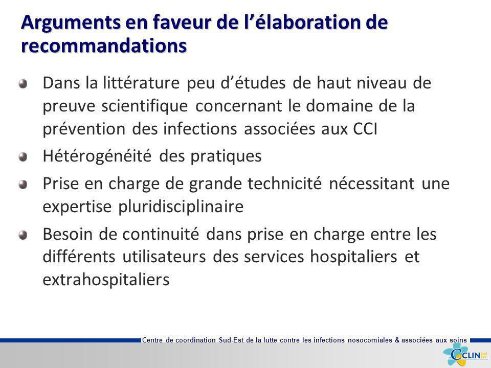 Centre de coordination Sud-Est de la lutte contre les infections nosocomiales & associées aux soins Arguments en faveur de lélaboration de recommandat