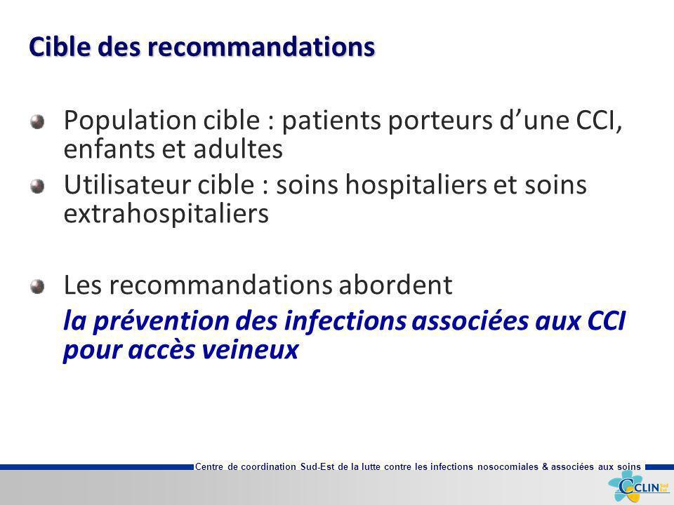 Centre de coordination Sud-Est de la lutte contre les infections nosocomiales & associées aux soins Cible des recommandations Population cible : patie