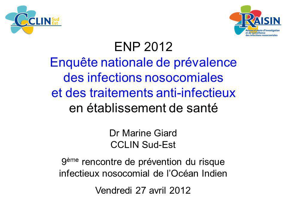 ENP 2012 Enquête nationale de prévalence des infections nosocomiales et des traitements anti-infectieux en établissement de santé Dr Marine Giard CCLI