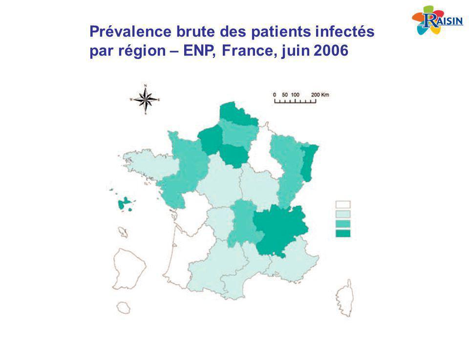 Prévalence brute des patients infectés par région – ENP, France, juin 2006