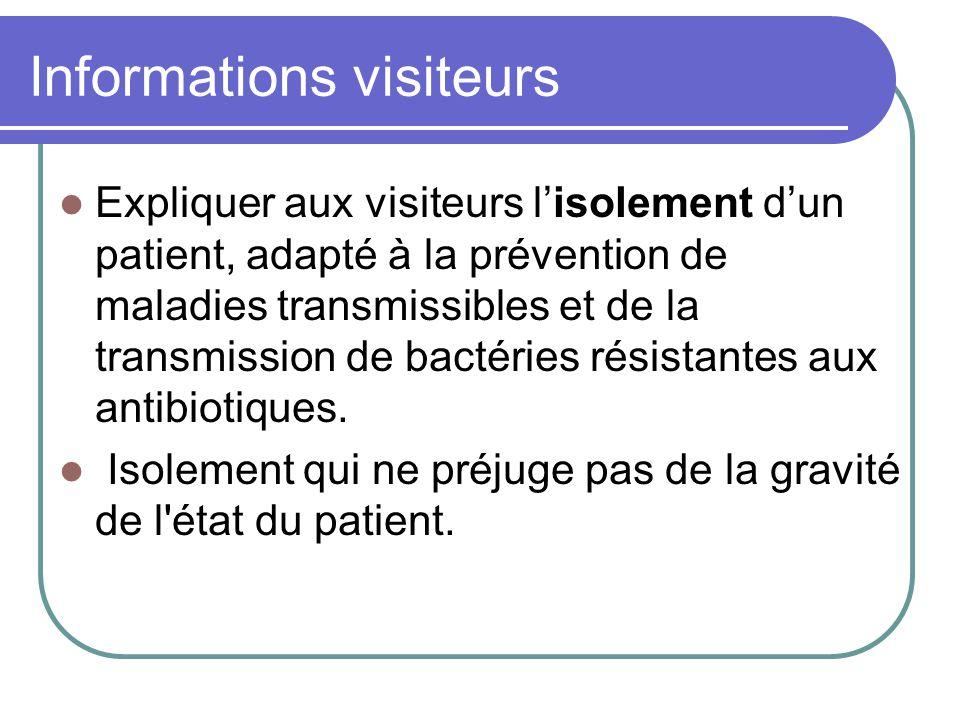 Informations visiteurs Expliquer aux visiteurs lisolement dun patient, adapté à la prévention de maladies transmissibles et de la transmission de bactéries résistantes aux antibiotiques.