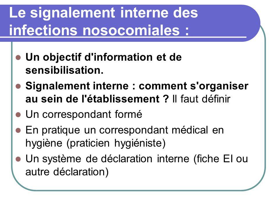 Le signalement interne des infections nosocomiales : Un objectif d information et de sensibilisation.