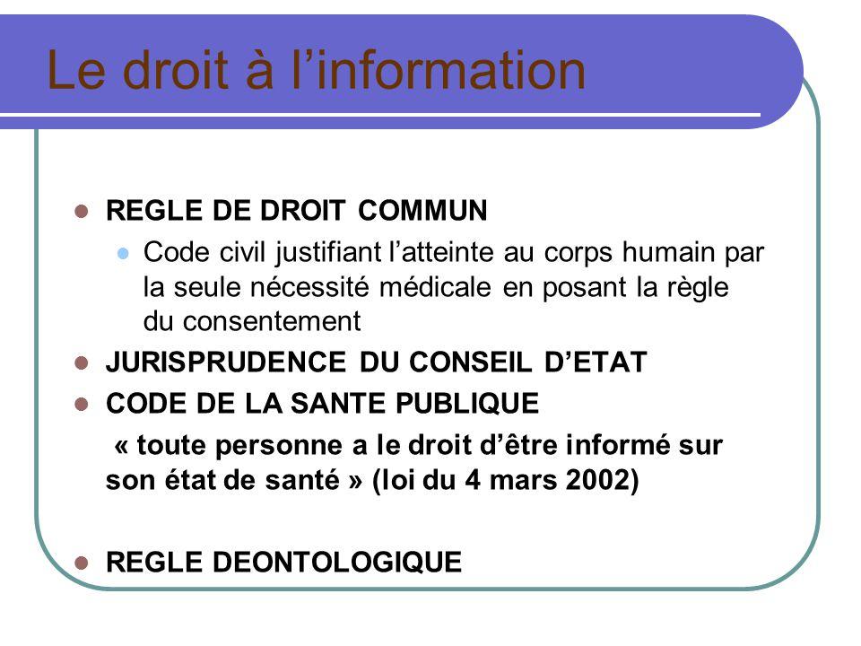 Le droit à linformation REGLE DE DROIT COMMUN Code civil justifiant latteinte au corps humain par la seule nécessité médicale en posant la règle du consentement JURISPRUDENCE DU CONSEIL DETAT CODE DE LA SANTE PUBLIQUE « toute personne a le droit dêtre informé sur son état de santé » (loi du 4 mars 2002) REGLE DEONTOLOGIQUE