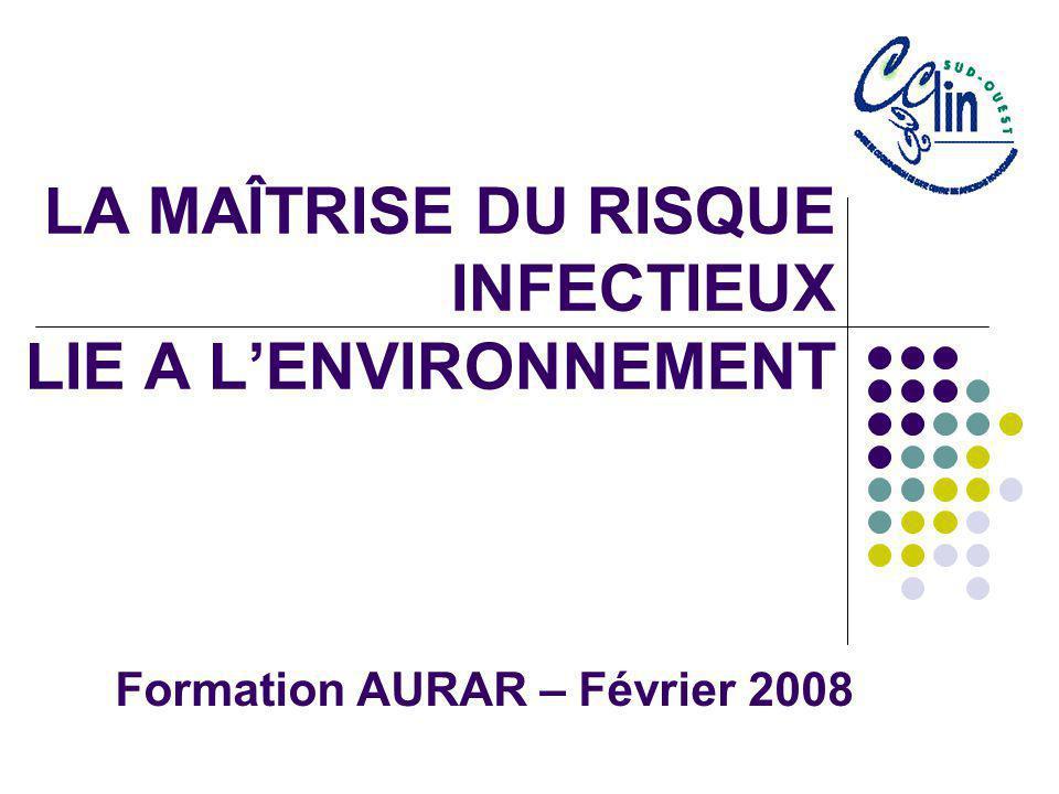 LA MAÎTRISE DU RISQUE INFECTIEUX LIE A LENVIRONNEMENT Formation AURAR – Février 2008