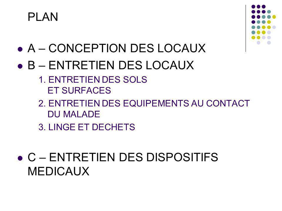 PLAN A – CONCEPTION DES LOCAUX B – ENTRETIEN DES LOCAUX 1.