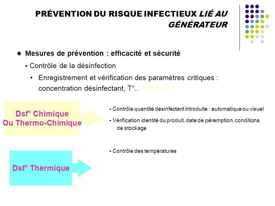 PRÉVENTION DU RISQUE INFECTIEUX LIÉ AU GÉNÉRATEUR Mesures de prévention Nettoyage, détartrage et désinfection des circuits hydrauliques Désinfection d