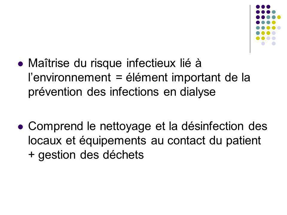 Maîtrise du risque infectieux lié à lenvironnement = élément important de la prévention des infections en dialyse Comprend le nettoyage et la désinfection des locaux et équipements au contact du patient + gestion des déchets